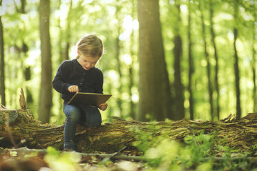 Girl in forest using digital tablet - SBOF000161