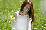 Redheaded teenage girl picking flowers on a meadow - LBF001446
