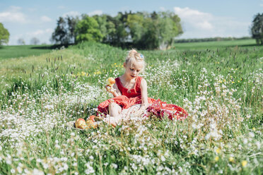 Grl sitting in flower meadow with apples - MJF001943