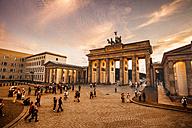 Germany, Berlin, Brandenburg Gate and Pariser Platz at golden hour - ZM000479