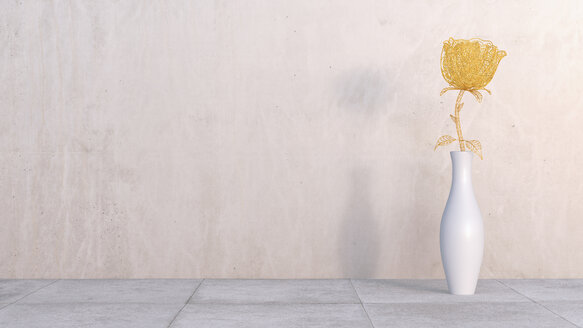 3D Rendering, steam punk rose in vase on concrete, wall - AHUF000181