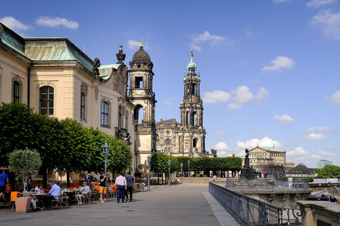 Germany, Saxony, Dresden, Bruehl's Terrace, Sekundogenitur and Dresden Cathedral - BT000405