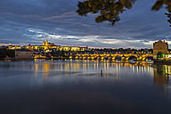 Czechia, Prague, Prague Castle and Charles Bridge at blue hour - MELF000118