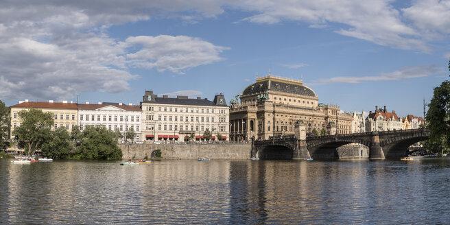 Czechia, Prague, Vltava river, Cafe Slavia, National Theater and Goethe Institute - MELF000124