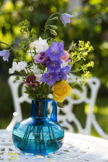 Summer flowers in vase, lupine, carnation, rose, poppy and bellflower - MYF001610