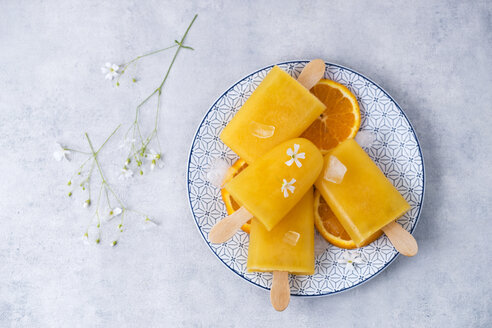 Dish with homemade orange popsicles - MYF001622