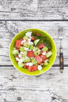 Bowl of salad with watermelon, cucumber, mint and feta - LVF005035