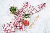 Salad with watermelon, rocket and feta in glasses - LVF005041
