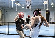 Young woman in gym doing self defense training - MGOF002021