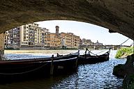 Italy, Tuscany, Florence, boats under Ponte Vecchio - FMOF000052