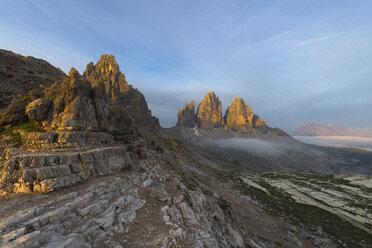 Italy, Dolomites, Tre Cime di Lavaredo during sunrise - MKFF000294