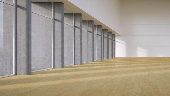 Empty hall with plank flooring, 3D Rendering - UW000906