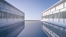 Two buildings of holiday resort reflecting in the water of the pool, 3D Rendering - UW000909