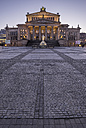 Germany, Berlin, view to lighted Konzerthaus at Gendarmenmarkt in the evening - PVCF000861