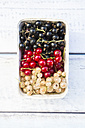 Cardboard box of black, red and white currants - LVF005098