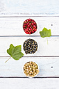 Row of three bowls with black, red and white currants - LVF005101