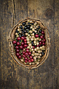 Wickerbasket with mix of black, red and white currants - LVF005107