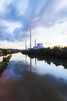 Germany, Altbach, Neckar river, Altbach Power Station in the evening - WDF003689