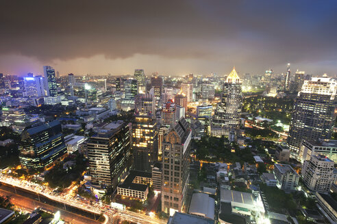 Thailand, Bangkok, cityscape at night as seen from roof terrace of Banyan Tree Hotel - FPF000101