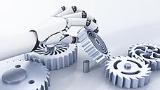 Robot hand reaching for cogwheels - AHUF000196