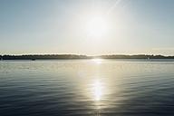 Germany, Saxony, Leipzig, Lake Cospuden at sunset - MJF001989