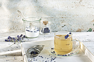 Lavender tea in glass cup - ASF005947