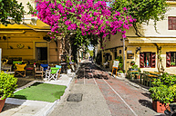 Greece, Athens, empty pavement cafe in Plaka district - THA001620