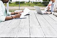 Two businesswomen working on terrace - UUF008184