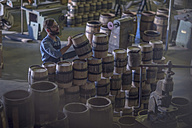 South Africa, Cape Town, cooperage, cooper piling wine barrels - ZEF009122
