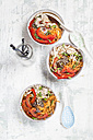 Glass noodle salad in bowl, vegetables and pulled chicken - SBDF003046