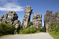 Germany, Horn-Bad Meinberg, Teutoburg Forest, Externsteine, sandstone rock formation - WIF003343