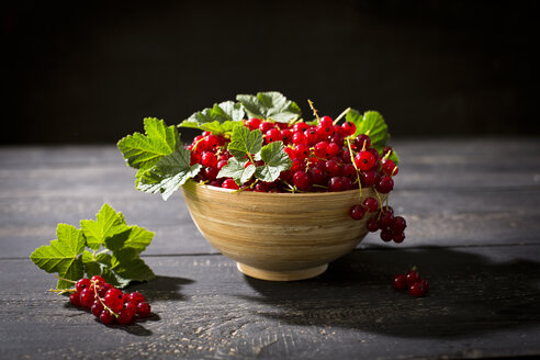 Bowl of red currants on dark wood - MAEF011926