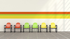 Row of coloured chairs in waiting room, 3D Rendering - UWF000922