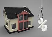 3D Illustration, house building with fishhook and symbol of percent - ALF000706