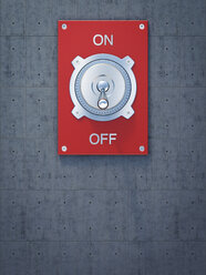 Red flip switch, on, off, 3D Rendering - AHUF000204