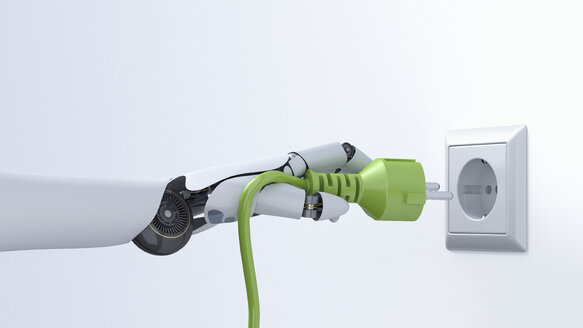Robot hand with green plug, plug socket, 3D Rendering - AHUF000207
