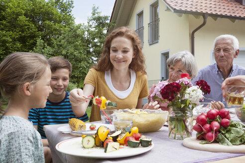 Extended family dining in garden - RBF004779
