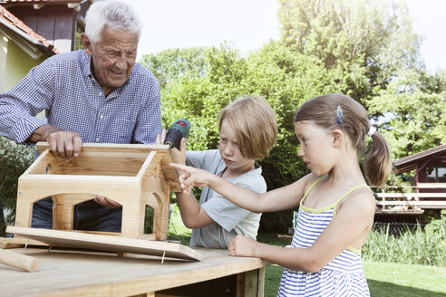 Grandfather and grandchildren building up a birdhouse - RBF004794