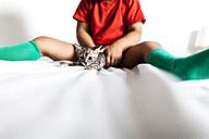 Little boy sitting on bed holding kitten - VABF000721