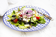 Greek salad on plate - LVF005162