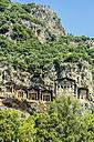 Turkey, Dalyan, Lycian rock tombs of the ancient city Kaunos - THAF001651