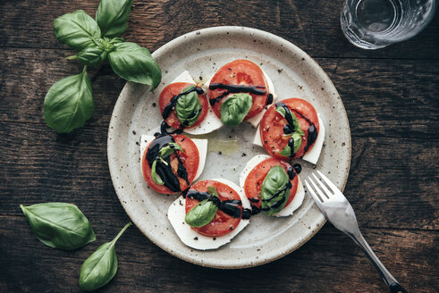 Caprese salad with San Marzano tomato and Buffalo Mozzarella and basil leaves - IPF000316