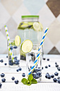Glass of infused water with lime, blueberries and mint - LVF005174