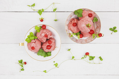 Two collectors cups of homemade wild strawberry ice cream - GWF004858
