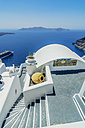 Greece, Santorini, Fira, stairs of house in front of Caldera - THA001708