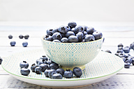 Bowl and plate of blueberries on wood - LVF005187