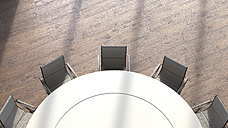 View to round conference table from above, 3D Rendering - UWF000932