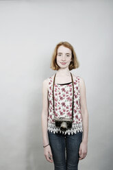 Portrait of girl with an old camera - JATF000867