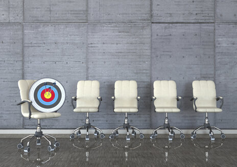 Head Hunter, swivel chairs with target and arrows in a room, 3D Illustration - ALF000709