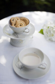 Upcycling of old tea cups, bowl with cookies, tea cup - GISF000231